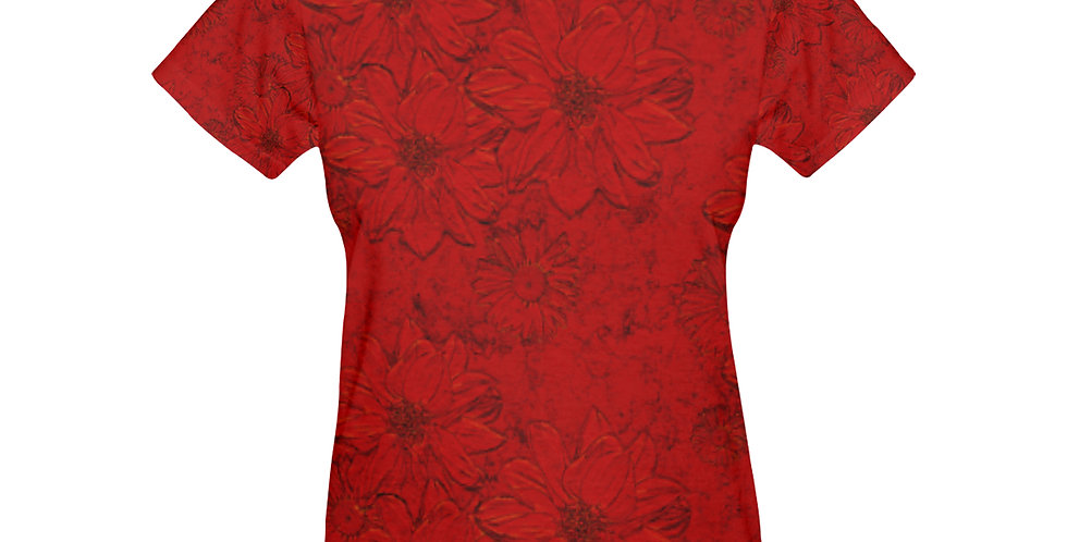 Embossed Floral Red - T-shirt