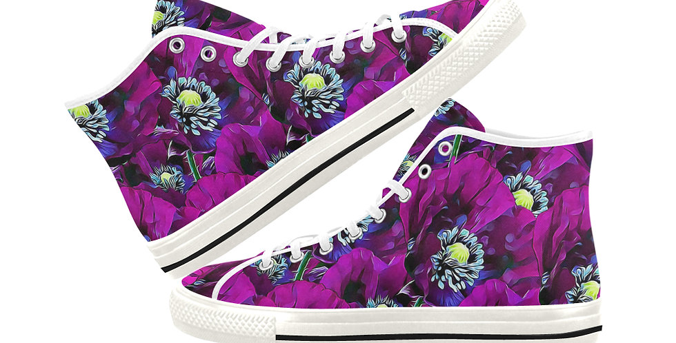 Wild Purple Poppies - Women's High Top Canvas Sneakers