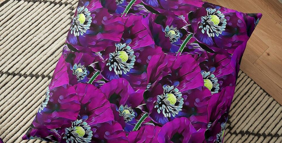 Wild Purple Poppies - Cushion Cover