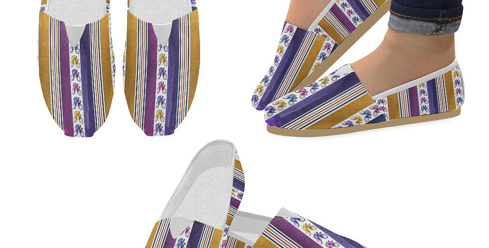 Bearded Iris Stripes - Slip On Canvas Shoes