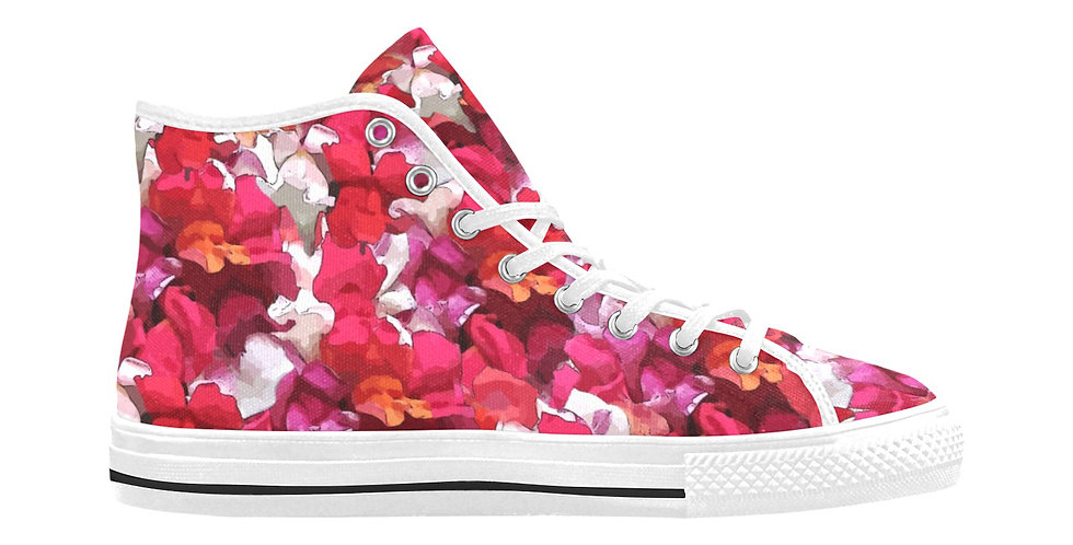 Snappy Red - Women's High Top Canvas Sneakers
