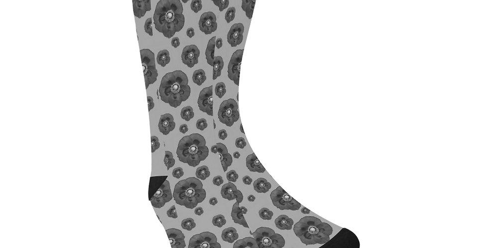 Poppies Grey - Unisex Socks (Made in Australia)