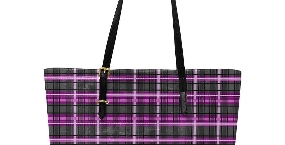 Tartan Terror Pink/Black - Large Tote Bag