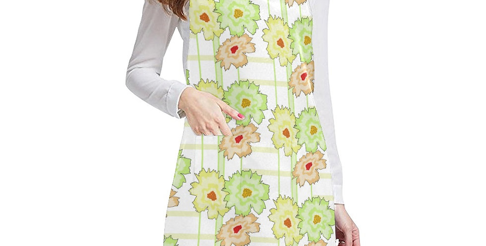 Floral Frenzy Mint/Peach Apron - Adjustable
