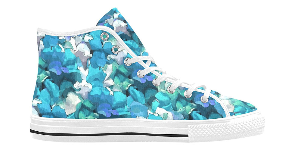 Snappy Blue - Women's High Top Canvas Sneakers