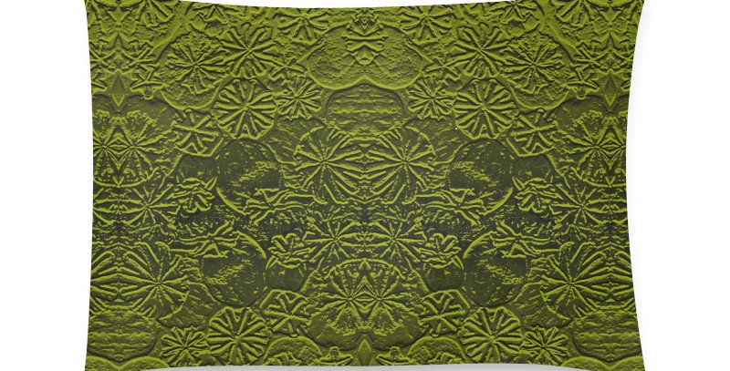 Embossed Poppies Olive Green - Cushion Cover