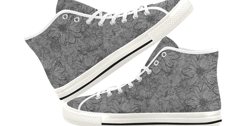 Embossed Floral Grey - Women's High Top Canvas Sneakers