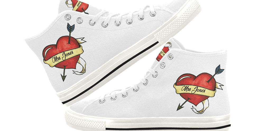 Heart Tattoo White - Women's High Top Canvas Sneakers