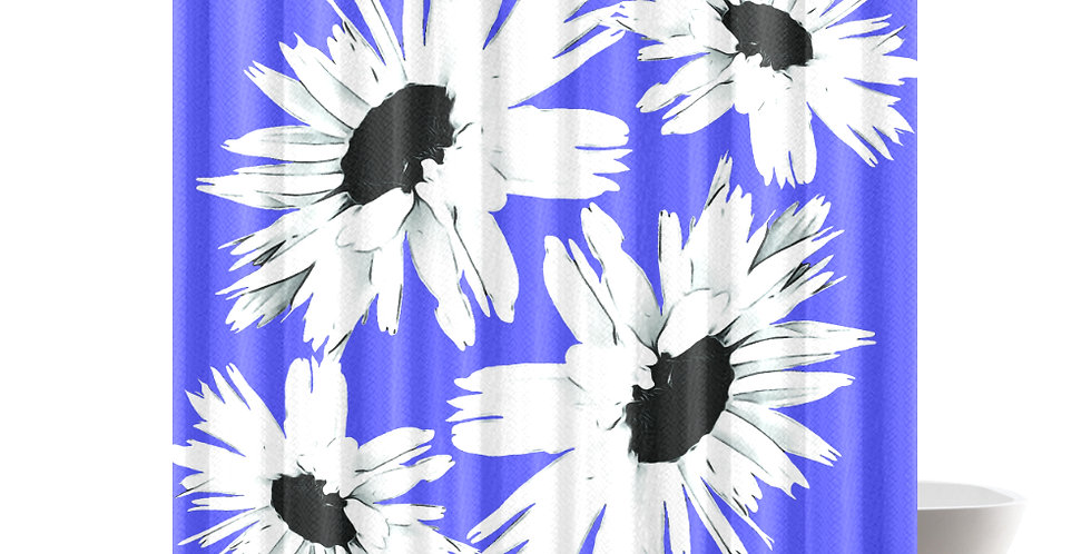 Daisy Love Dark Blue - Shower Curtain