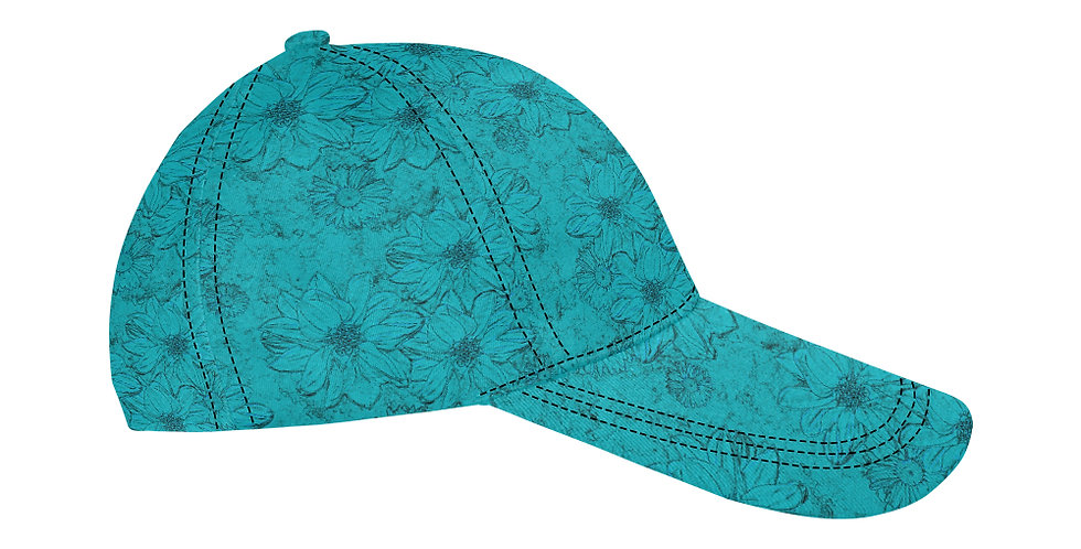 Embossed Floral Blue - Baseball Cap