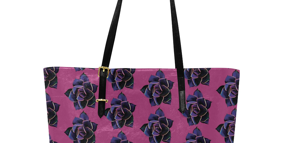 Pink Succulent (small print) - Large Tote Bag