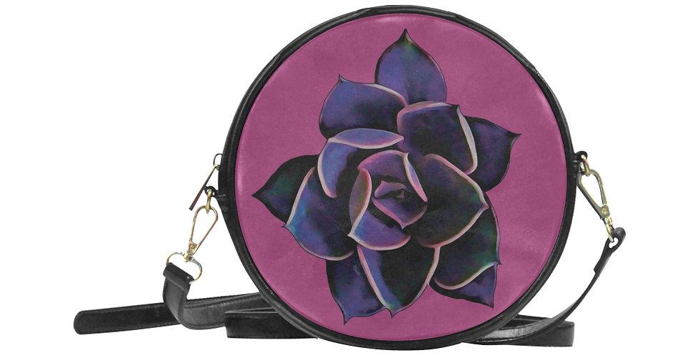 Pink Succulent - Round Messenger Bag