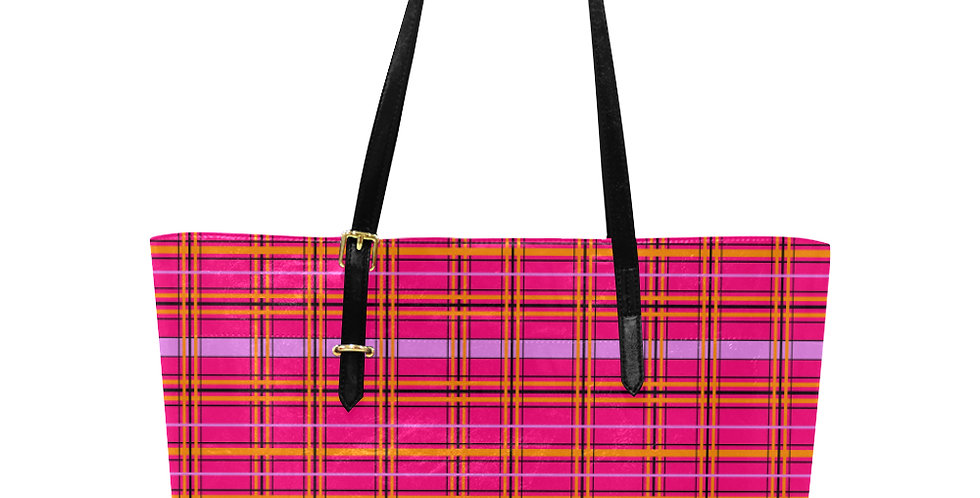 Tartan & Poppies - Orange & Pink - Tartan - Large Tote Bag