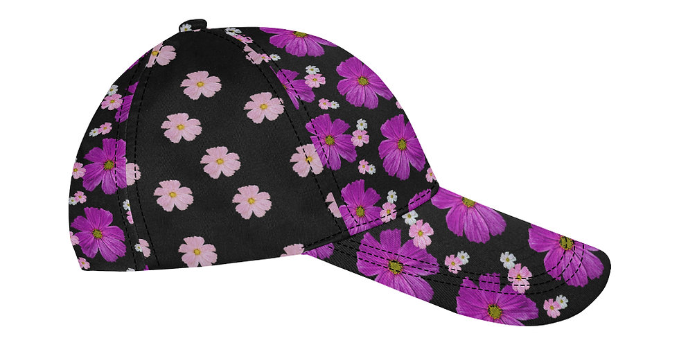 Cosmo Chaos Bright Pink (small flowers panel) - Baseball Cap