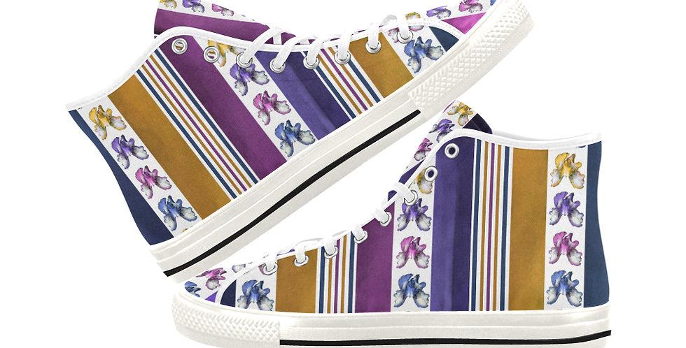 Bearded Iris Stripes - Women's High Top Canvas Sneakers