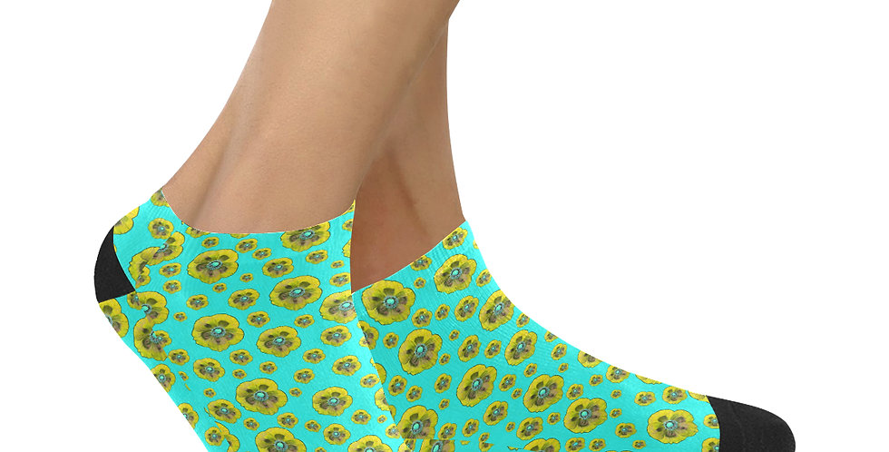 Poppies Aqua/Yellow - Ankle Socks