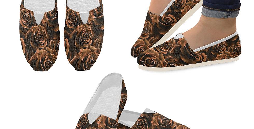 Velvet Roses Chocolate - Slip On Canvas Shoes