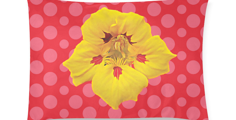 Ladybug Nasturtium (pink dots) - Cushion Cover