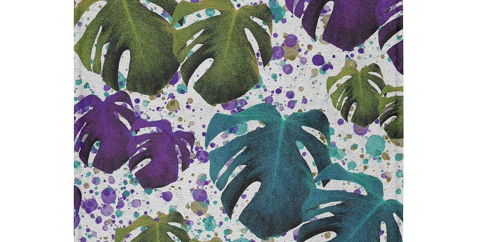 Monstera Leaves Teal/Purple - Blanket