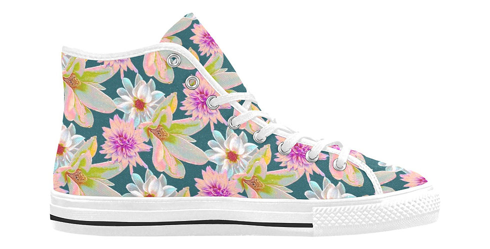 Vintage Floral - Women's High Top Canvas Sneakers