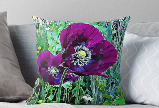 Meadow Poppies - Spring Cushion Cover