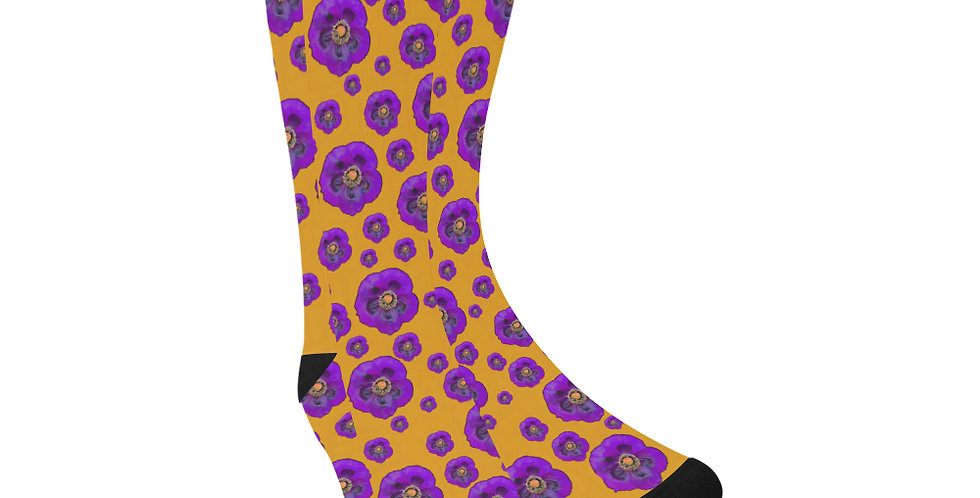 Poppies Orange/Purple - Unisex Socks (Made in Australia)