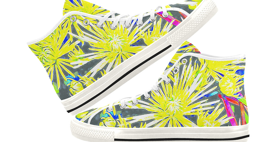 Yellow Chrysanthemums - Women's High Top Canvas Sneakers