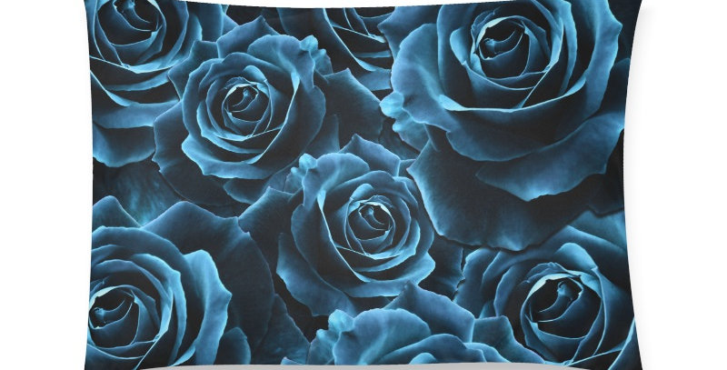 Velvet Roses Blue - Cushion Cover