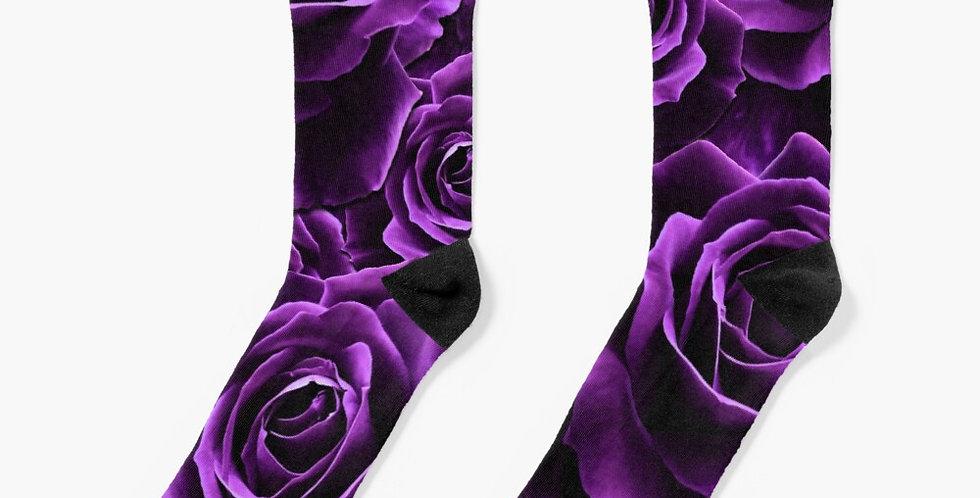 Velvet Roses Purple - Socks