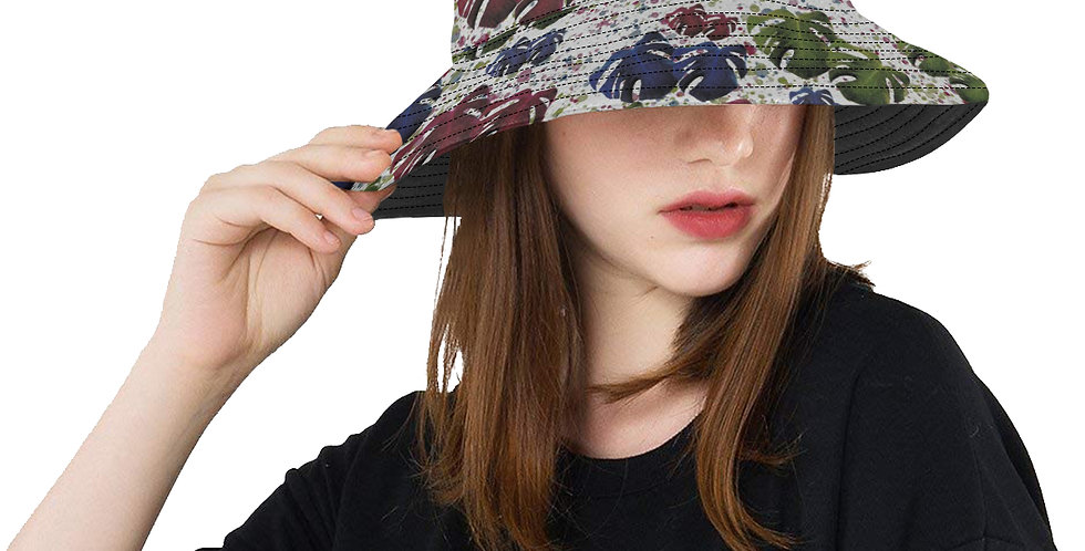 Monstera Leaves Red & Blue - Bucket Hat