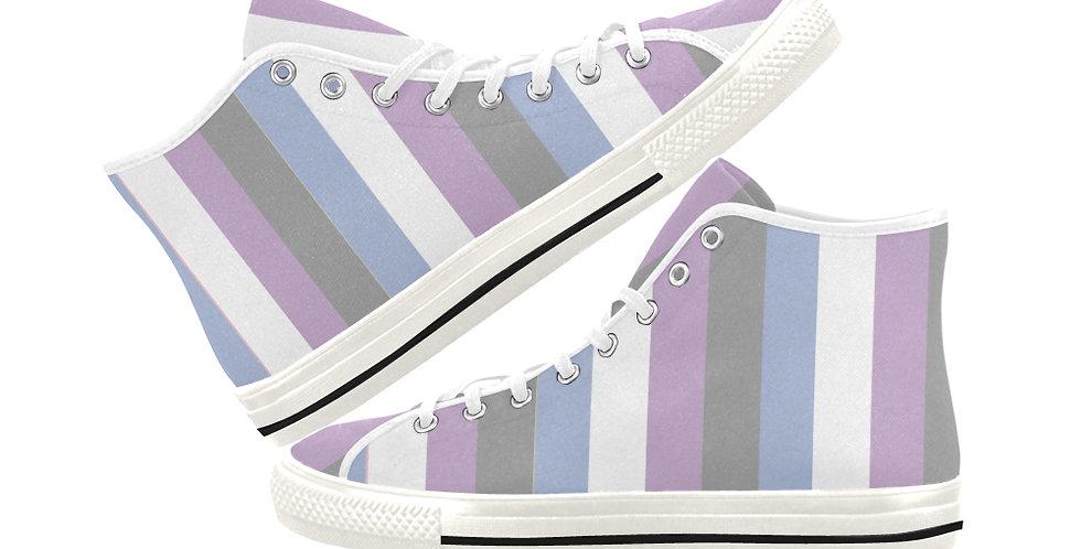 Gentle Stripes -  Women's High Top Canvas Sneakers