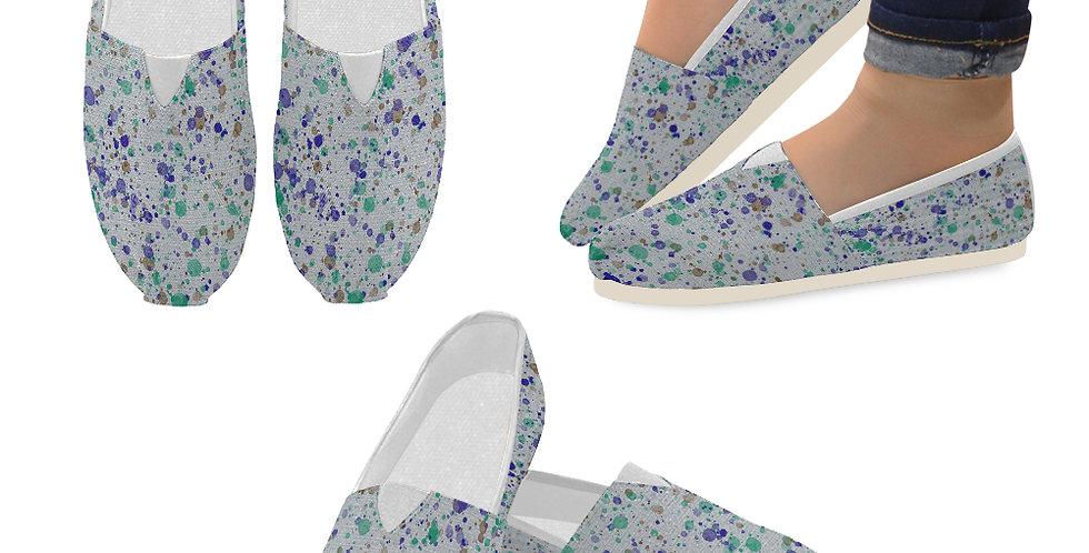 Splash Blue/Green - Slip On Canvas Shoes