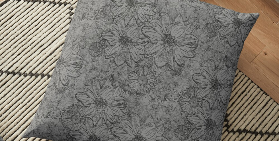 Embossed Floral Grey - Cushion Cover