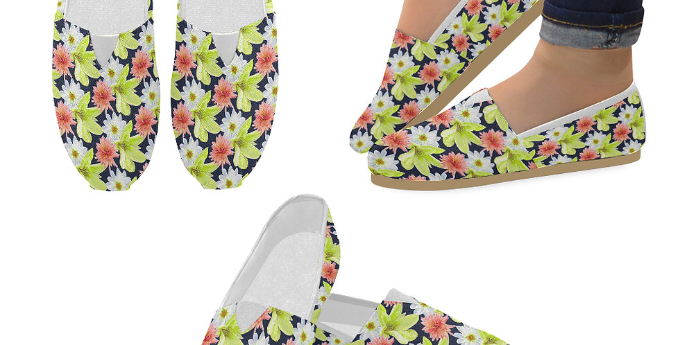 Magnolia Butterflies (small print) - Slip On Canvas Shoes