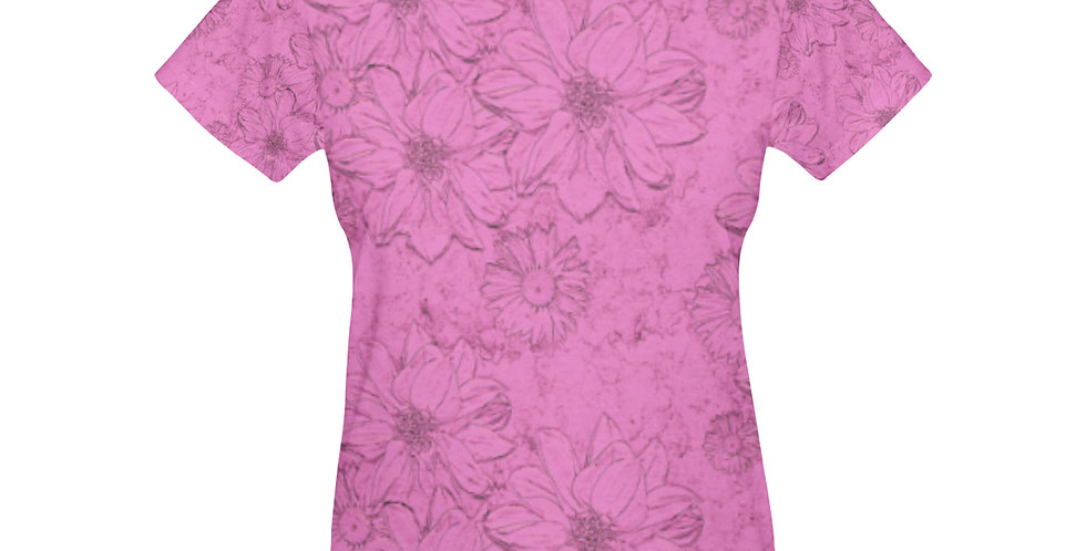 Embossed Floral Pink - T-shirt