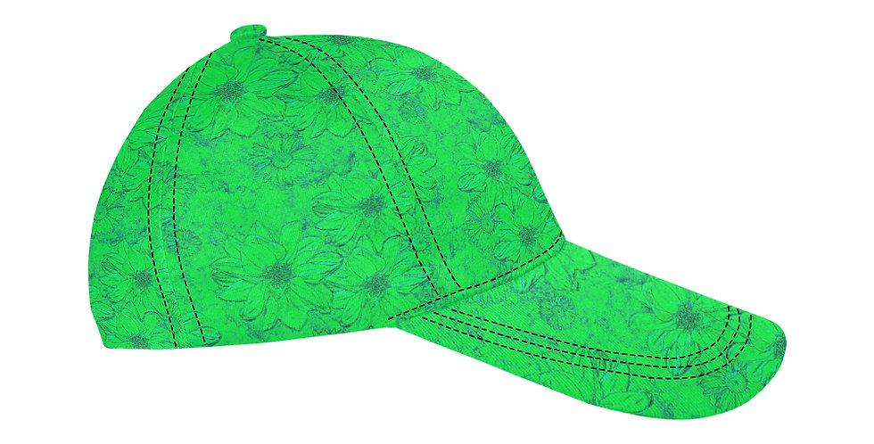 Embossed Floral Green - Baseball Cap