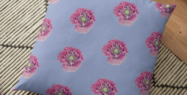 Pink Poppies on Blue Background Cushion Cover
