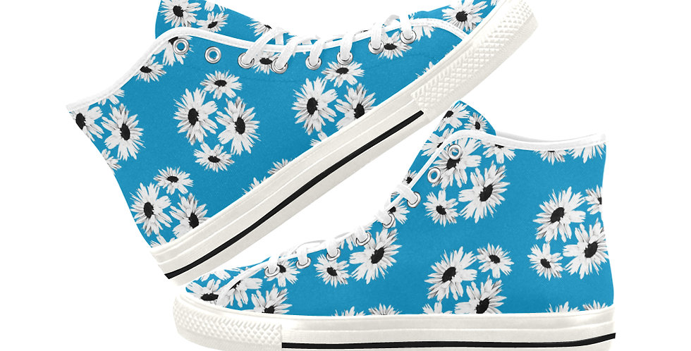Bunch of Daisies Blue (small print) - Women's High Top Canvas Sneakers