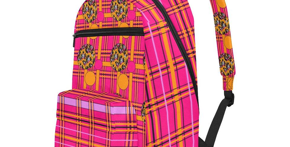 Tartan & Poppies Orange & Pink - Travel Backpack (Large Capacity)