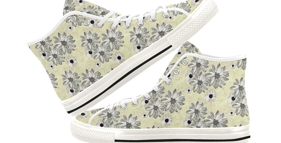 Floral Lemon - Women's High Top Canvas Sneakers
