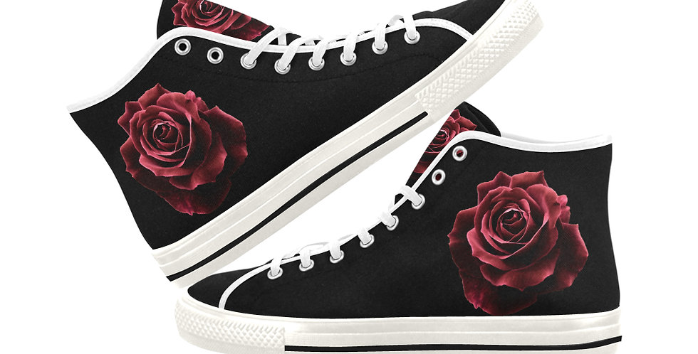 Red Red Rose - Women's High Top Canvas Sneakers