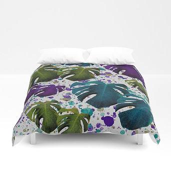 monstera-teal-purple-green-duvet-covers.