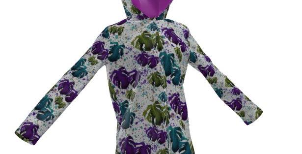 Monstera Leaves Purple/Teal - Rain Jacket