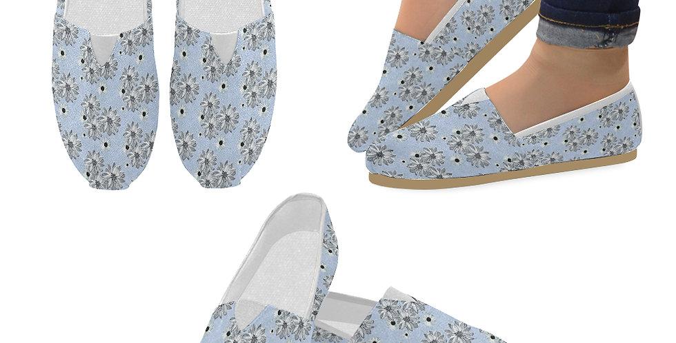 Floral Blue - Slip On Canvas Shoes