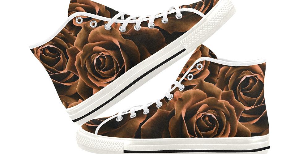 Velvet Roses Gold - Women's High Top Canvas Sneakers