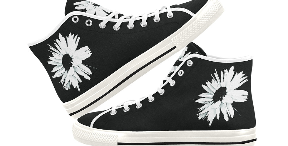 Bunch of Daisies Black and White -  Women's High Top Canvas Sneakers