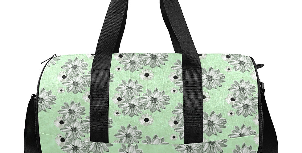 Floral Mint Green - Gym / Workout / Camping / Travel Duffel Bag