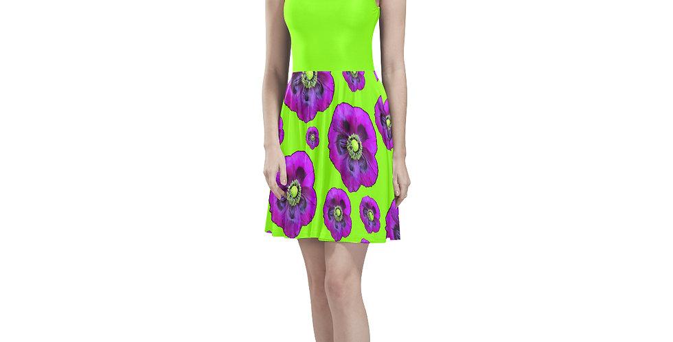 Purple Poppies (green bodice) - Skater Dress