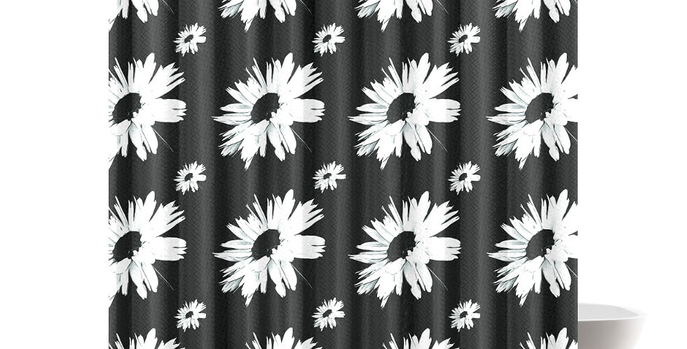 Bunch of Daisies Black (small print) - Shower Curtain