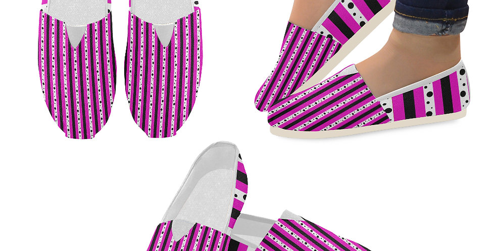 Sweet Pea Passion Stripes - Slip On Canvas Shoes